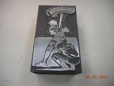 Printing Letterpress Printers Block, 2 Baseball Players, Printers Cut