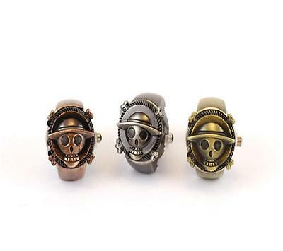 2016 Fashion unisex Piece Luffy Skull Ring Watch bronze clamshell Cosplay SP