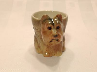"""Vintage Ceramic Pottery Egg Cup Scottie Terrier Dog Figurine 2-3/8"""" Tall"""