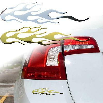 1pc Self Adhesive Chrome Effect Shooting Flame Badge Decal Sticker for Cars SS