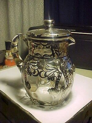"Vintage 8 1/2"" Art Nouveau Flowers Sterling Overlay Clear Glass Pitcher w/ LID"