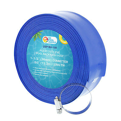"1-1/2"" x 50' Heavy Duty Blue PVC Swimming Pool Backwash Hose & Clamp, Discharge"