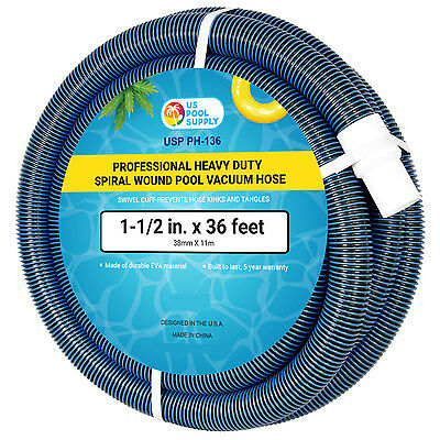"1-1/2"" x 36 Foot Heavy Duty Spiral Wound Swimming Pool Vacuum Hose, Swivel Cuff"