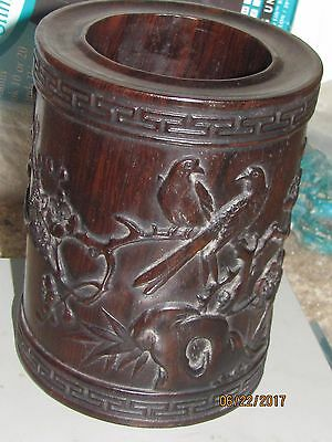 Vintage Chinese solid carved Hard Wood Brush Pot
