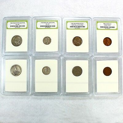 90% Silver 1942 Year Set includes Quarter, Dime, Nickel and Penny
