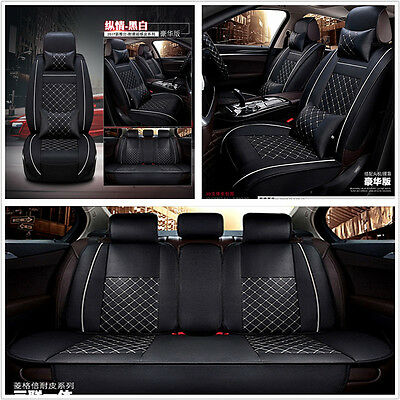 Deluxe Edition Car Seat Cover Cushion 5-Seats Front + Rear w/Pillows Black&White