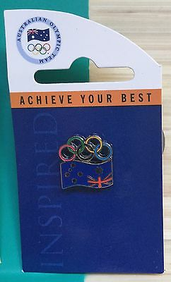 Sydney Olympics 2000 Pin. Aussie Flag And Olympic Rings.