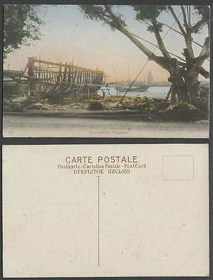 Singapore Old Hand Tinted Postcard Shipbuilding Malay Ship Building Boat Harbour