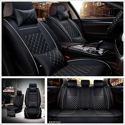 Car Seat Cover Cushion 5-Seats Front + Rear PU Leather w/Pillows Black and White