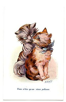 Wuyts vintage cat postcard lovely pair ginger grey cats CAT CHARITY