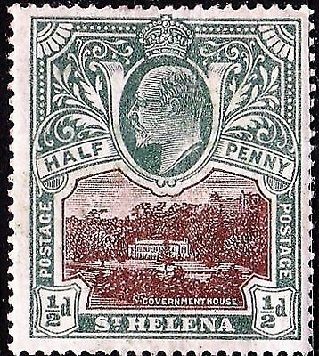 EDVII ST.HELENA 1903 1/2d Government House Stamp MH