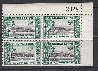SIERRA LEONE 1938 KGVI 1/2d Green & Black mint corner block of 4 MH