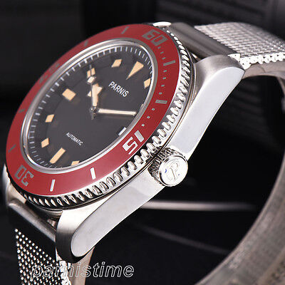 43mm Parnis 316L Stainless Strap Miyota Automatic Mens Watch Red Rotating Bezel