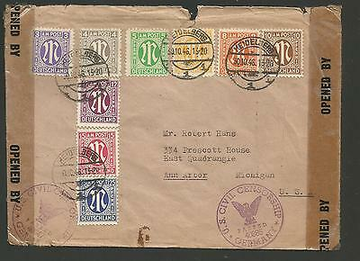 1946 German Allied Military Government Amg Stamps On Censored Cover To Us