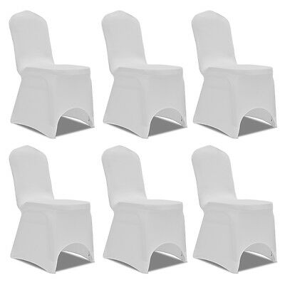 S# 6 pcs White Lycra Spandex Stretch Chair Covers Wedding Party Banquet Decorati