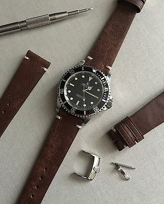 20mm Vintage Distressed Brown Italian Leather Watch Strap & Rolex Buckle