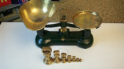 Librasco Vintage Kitchen Scales, Complete With 7 Brass Imperial Bell Weights
