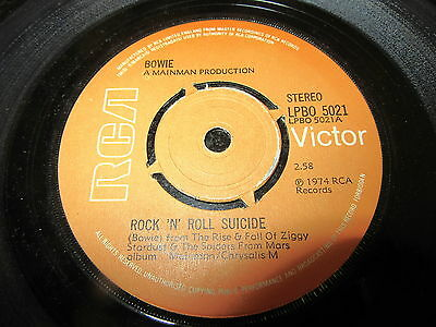 "David Bowie ""rock 'n' Roll Suicide"" Rca Mainman Uk 7"" Pushout Centre Vinyl Ex"