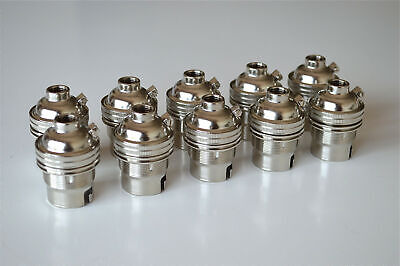 10 nickel bayonet fitting bulb holders B22 earthed UK made 10mm entry L1