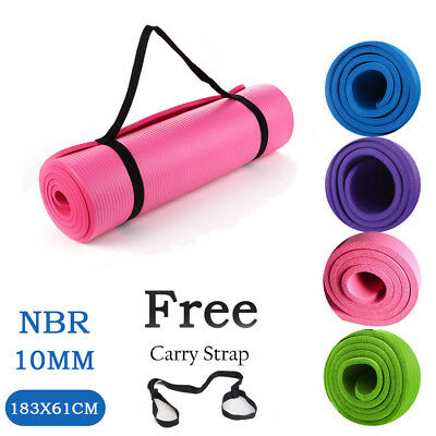183 x 61cm Thick 10mm Yoga Mat Exercise Fitness Gym Workout Non-slip Physio
