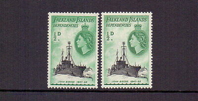 FALKLAND IS. DEPS. 1954-62 ½d SHIPS x BOTH SHADES SGG.26-a MNH CAT c£10
