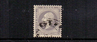 NORWAY 1857 3sk LILAC SG6 FINE USED CAT £95
