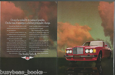 1991 BENTLEY TURBO R 2-page advertisement, Bentley Rolls Royce