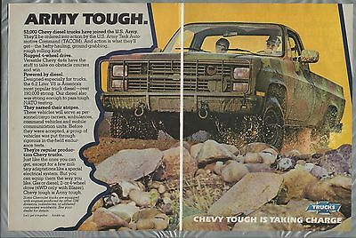 1983 CHEVROLET 4x4 pickup 2-page advertisement, Chevy Camo Army diesel ad