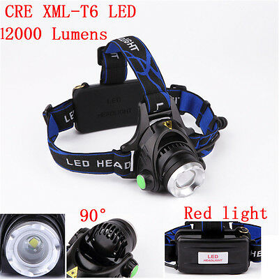 12000LM XML T6 LED Zoomable Headlamp Rechargeable Head Light Torch18650batteries