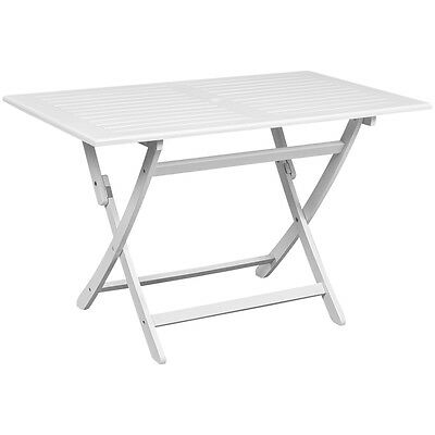 Rectangular Acacia Wood Outdoor Dining Table White Foldable Garden Furniture