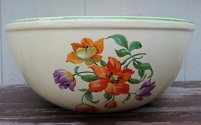 Homer Laughlin - Floral Pattern Kitchen Kraft Mixing Bowl - 9 1/2""