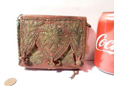 Antique Native American Indian Leather Embroidered Purse a/f