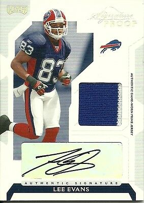 2006 Playoff NFL Playoffs Jersey Signature Proof Silver No. 37 Lee Evans 09/25