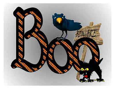 Custom Made T Shirt Halloween Boo Spiders Black Cat Crow Raven Beware Sign