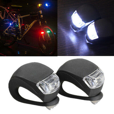 2 PCS LED Bicycle Bike Cycling Silicone Head Front Rear Wheel Safety Light Lamp