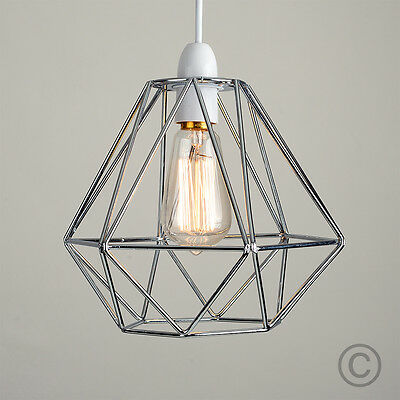 Industrial Chrome Caged Ceiling Pendant Light Shade Living Room Lampshade Home