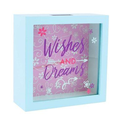 Wishes & Dreams Blue Wooden Money Box Style Piggy Bank Holiday comes Gift Boxed