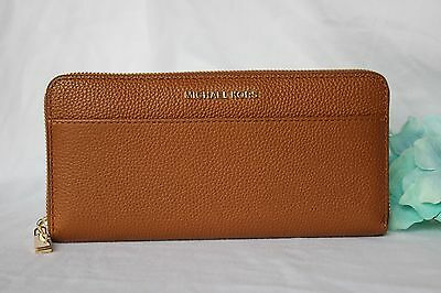 NEW Luggage Brown MICHAEL KORS Leather MERCER Zip Around Continental WALLET