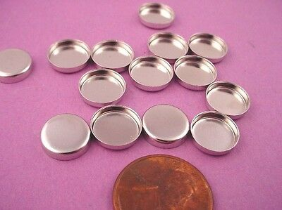 silver tone Round Bezel Cups 10mm High Wall   20 pieces