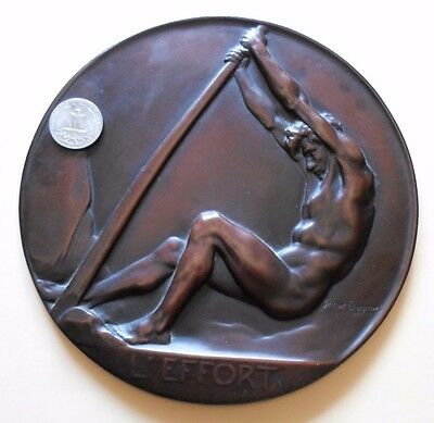 "NUDE MAN in EFFORT RARE 7"" BRONZE PLAQUE / MEDAL by JOSUE DUPON"