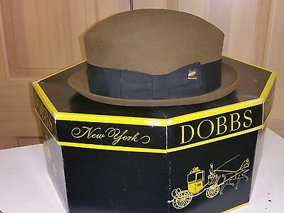 Vintage 40s 50s Dobbs Fedora Hat w Football Pin in Box