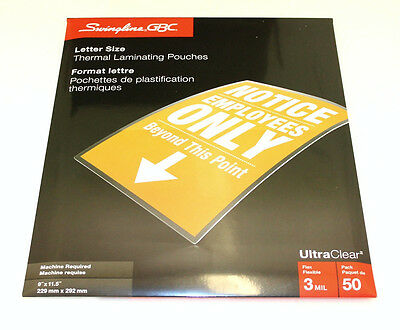"""GBC Letter Size (9"""" x 11.5"""") 3Mil Thick Thermal Laminating Pouches - 1 x 50 Pack"""