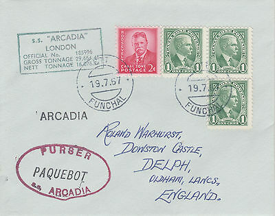 Canal Zone 4503 - Used in FUNCHAL, PORTUGAL 1967 PAQUEBOT cover to UK