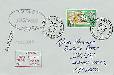 Fiji 4505 - Used in AIACCIO, CORSICA 1968 PAQUEBOT cover to UK