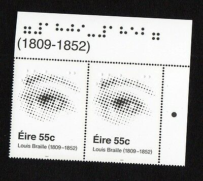 IRELAND 2009 LOUIS BRAILL 2 X  55c STAMPS MNH