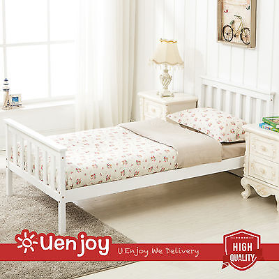 New 3FT Single Pine Wooden Bed Frame in White Finished Bedroom Furniture