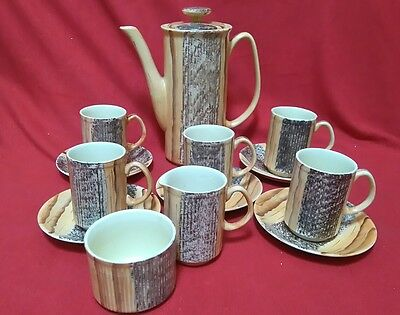 Stunning Vintage Coffee Pot 5 Coffee Cans, Saucers, Jug Bowl Brown Textured Look