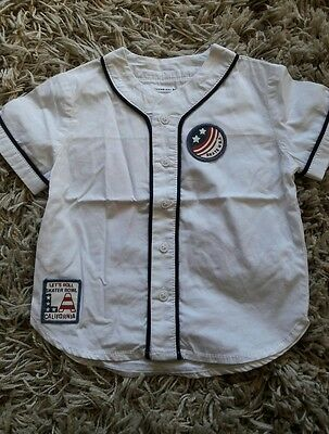 Next Baseball style summer shirt white baby boys 6-9 months Immaculate