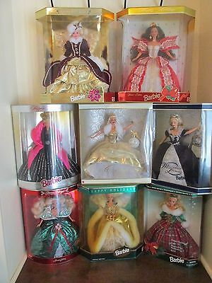 Lot of 8 Happy Holiday Barbie Dolls  Collectible NRFB 1994 thru 2000