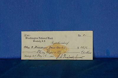 1901 Washington National Bank Westerly R.I. Bank Check
